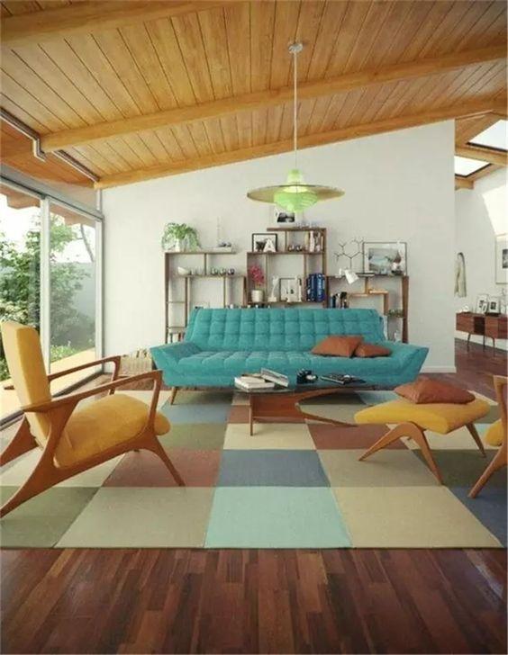 Modrý gauč a retro kreslá