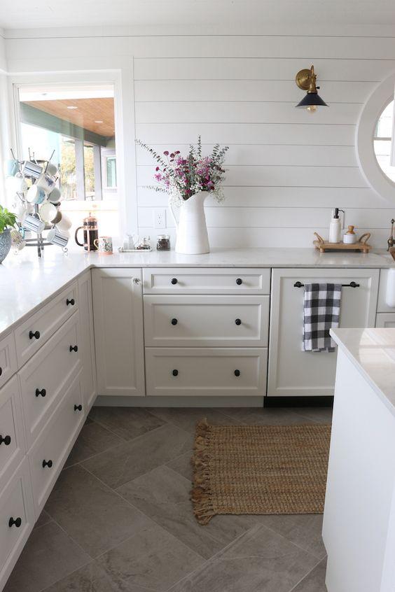 White Hexagon Backsplash Dark Cabinets