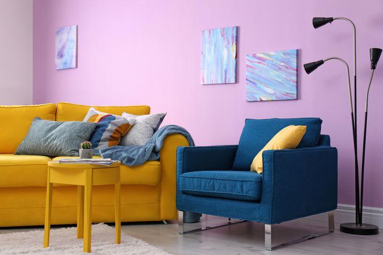 Žlto-modrá obývačka