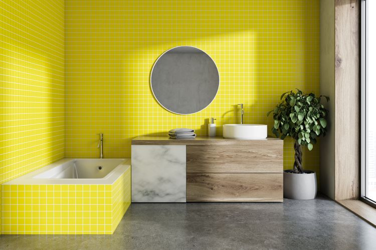 Žltá vaňa a steny