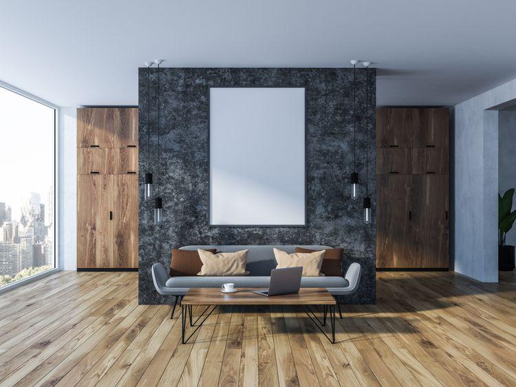 Sivá stena v obývačke