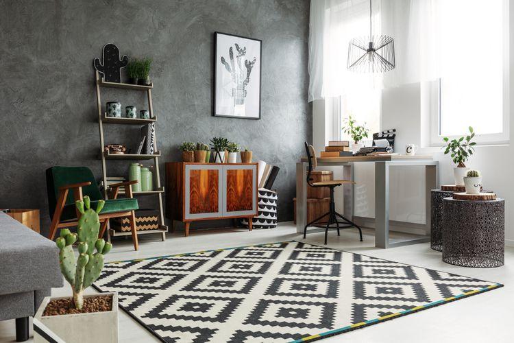Obývačka so sivými doplnkami