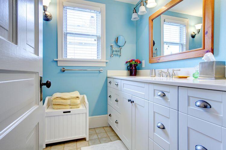 Jemná modrá v kúpeľni