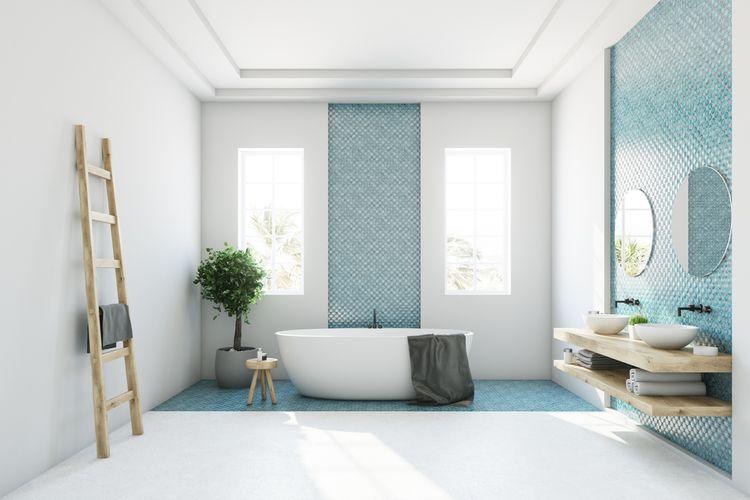 Modrý detail v kúpeľni