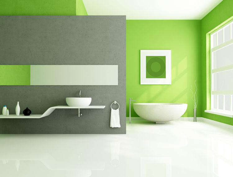 Hráškovozelené steny v kúpeľni