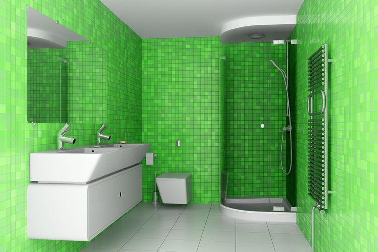 Zelené obkladačky v kúpeľni