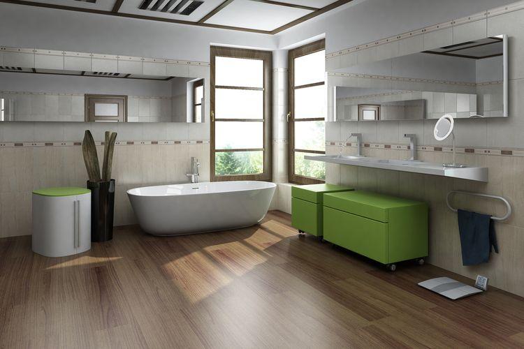 Zelené kúpeľňové skrinky