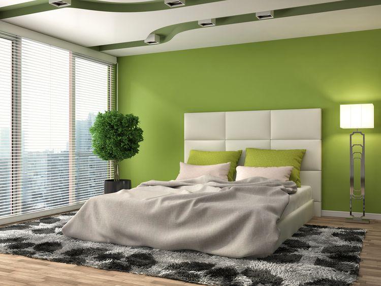 Sivo-zelená spálňa