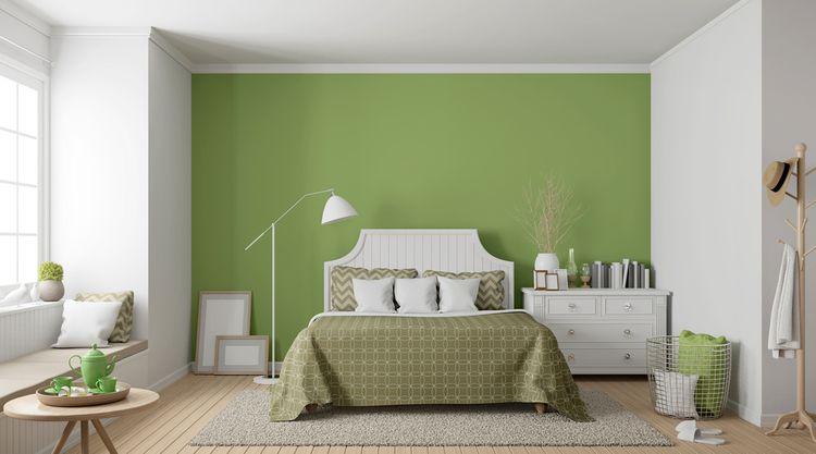 Spálňa ladená do zelenej
