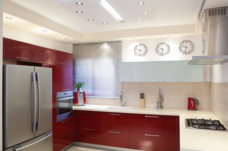 Tmavočervená kuchyňa