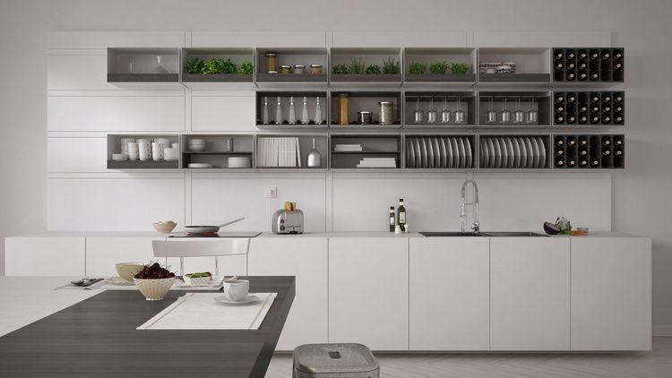 Biela kuchynská linka so sivými doplnkami