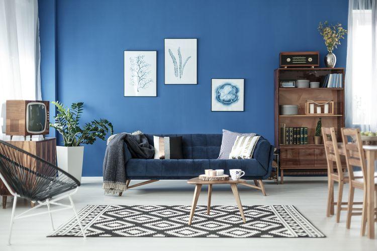 Modrá retro obývačka