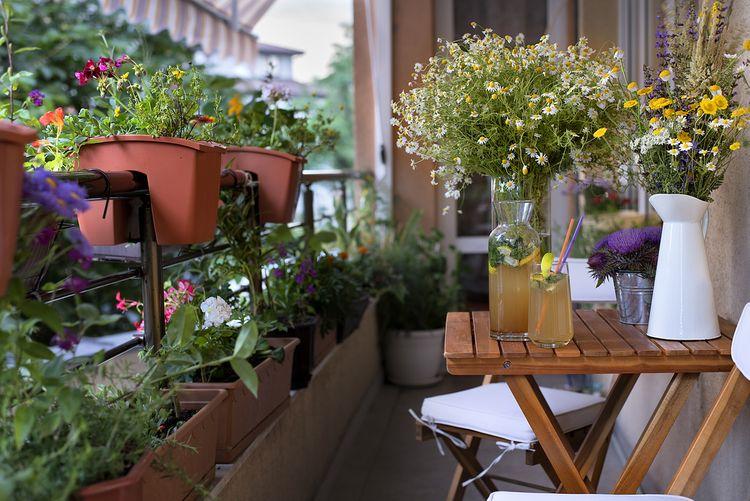 Kvety a posedenie na balkóne