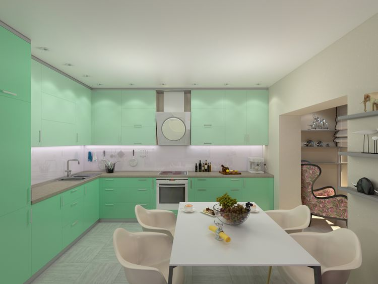 Pastelovozelená kuchyňa