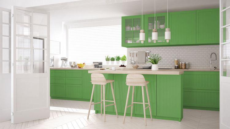 Matná zelená kuchyňa