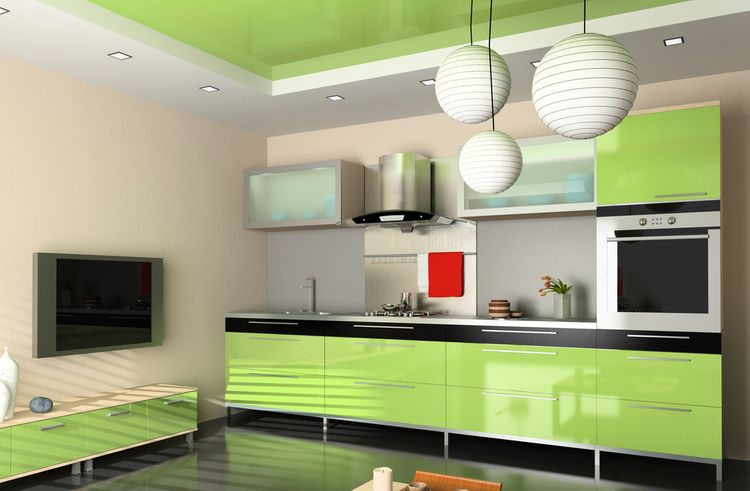Zelená kuchyňa s čiernym lemovaním