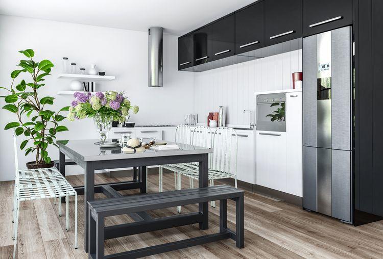 Čierno-biela kuchynská linka