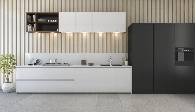Kuchyňa v čiernej a bielej