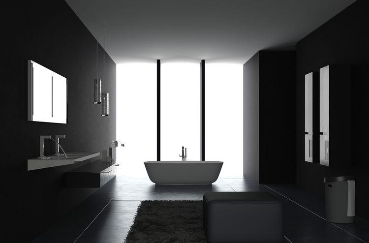 Čierna kúpeľňa s bielou vaňou