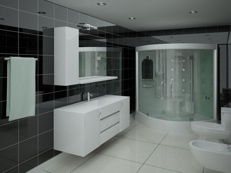 Kúpeľňa s čiernymi lesklými stenami