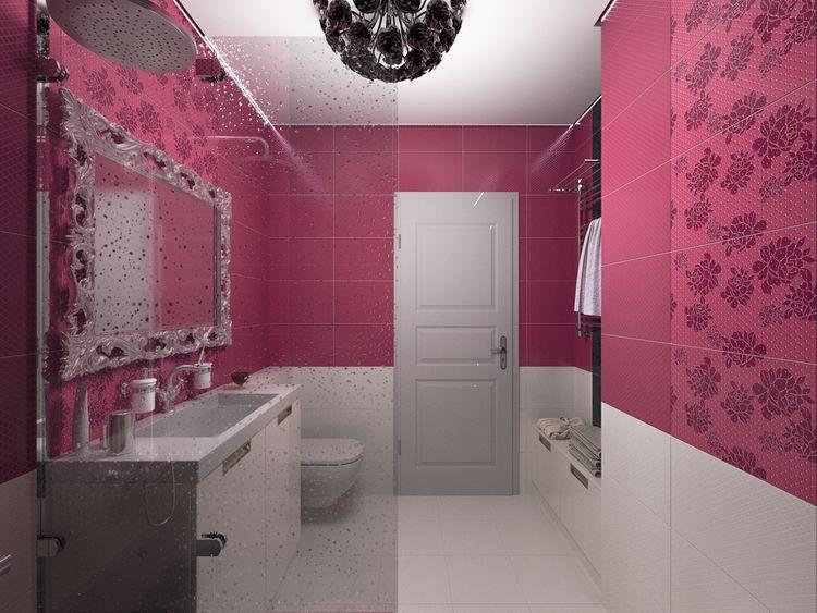 Fialovoružová kúpeľňa
