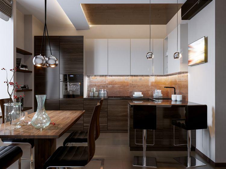 Tmavá drevodekorová kuchyňa