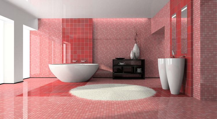 Červené kachličky v kúpeľni