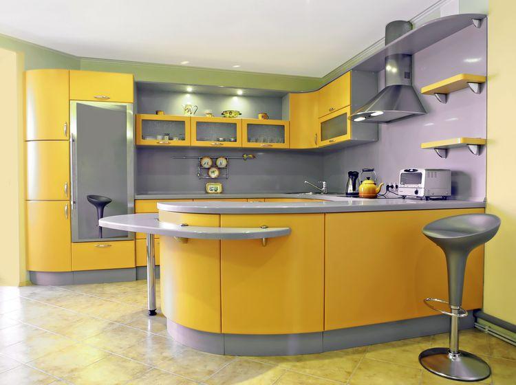 Výrazne žltá kuchyňa