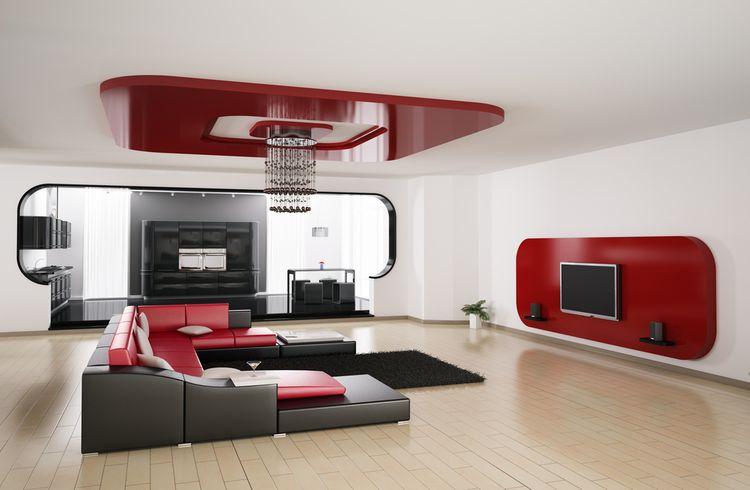 Červené doplnky v obývačke