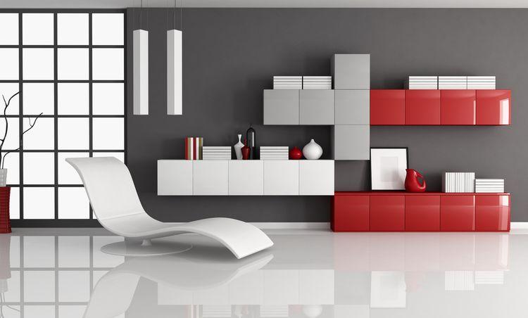 Červené skrinky v obývačke