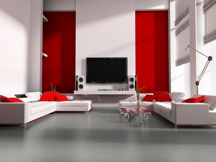 Červené steny v obývačke