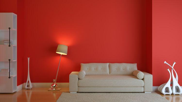 Červeno-krémová obývačka