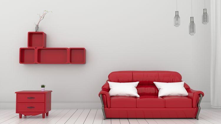 Červeno-sivá obývačka