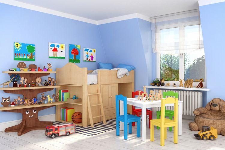 Detská izba s modrými stenami