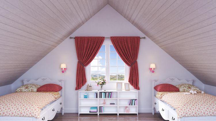 Podkrovná detská izba s dvomi postelami