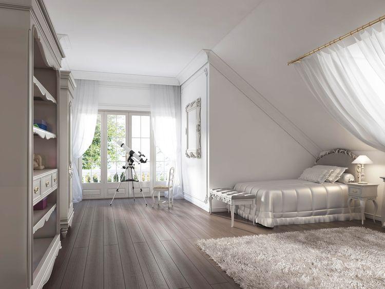 Sivá detská izba v podkroví