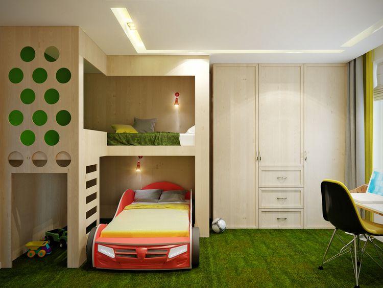 Detská izba so zeleným kobercom a postelou v tvare auta