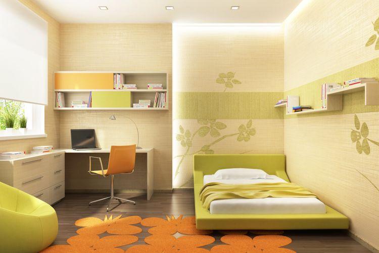 Detská izba so zelenými detailmi