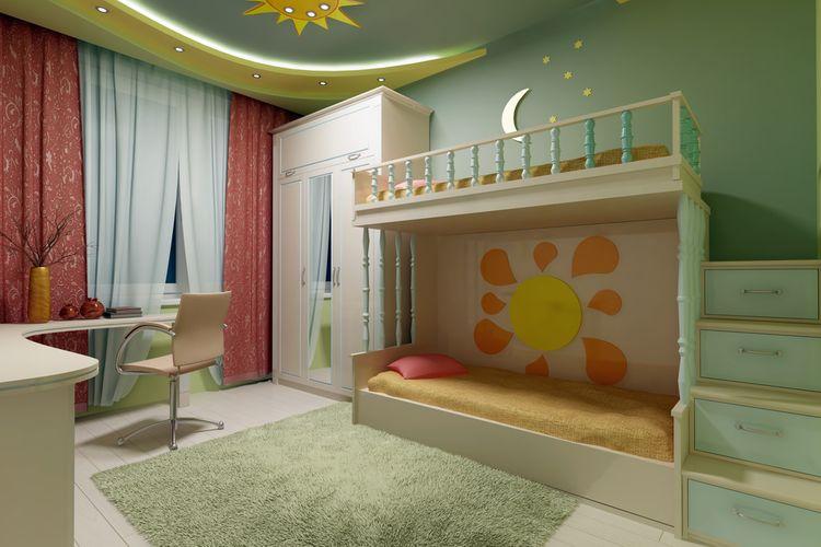 Zelená detská izba s poschodovou posteľou