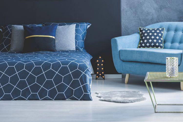 Spálňa ladená do modra