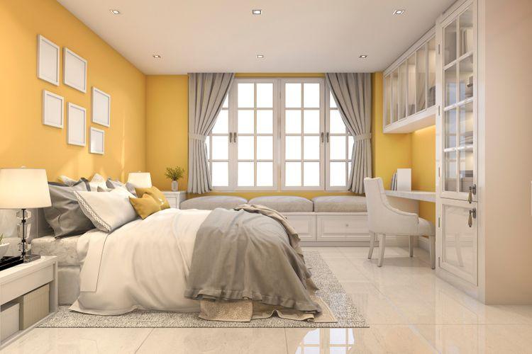 Žlto-biela spálňa