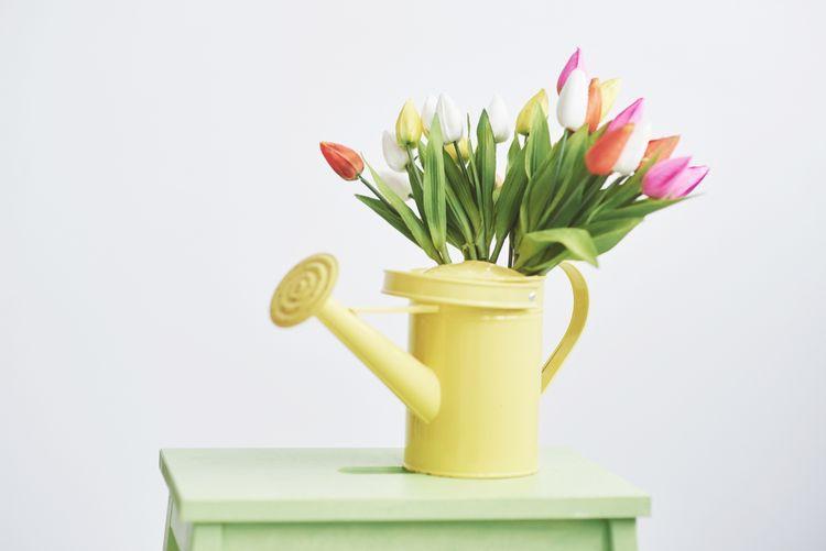 Žltá váza v tvare konvice