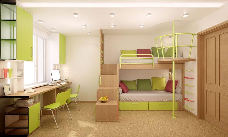 Poschodová posteľ s tyčou na spúšťanie