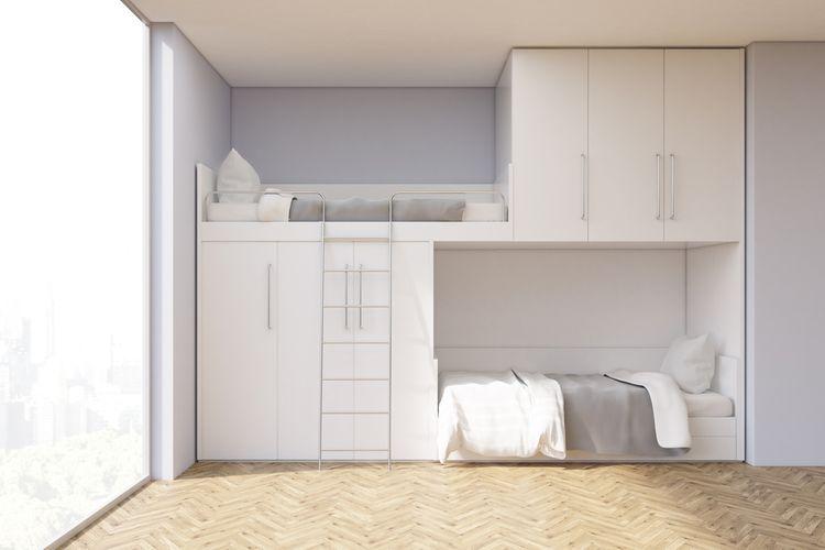Poschodová posteľ s úložnými priestormi