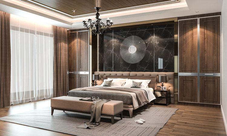 Hnedá spálňa so sivou