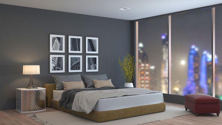 Hnedo-sivá spálňa
