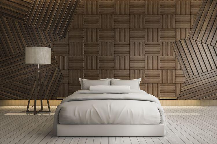 Spálňa s hnedou stenou