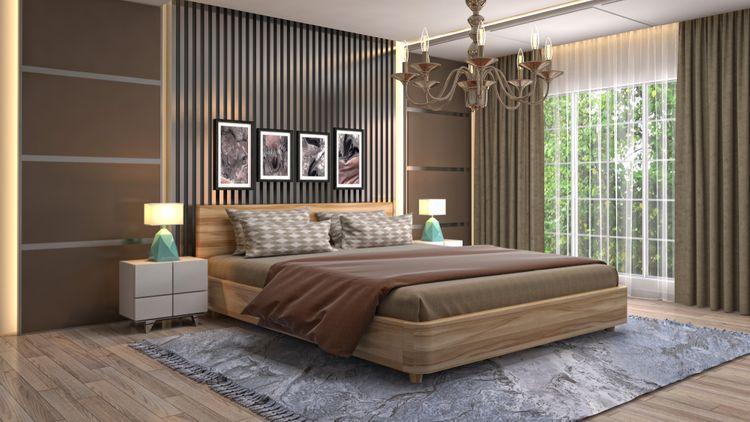 Hnedá spálňa s hnedými závesmi