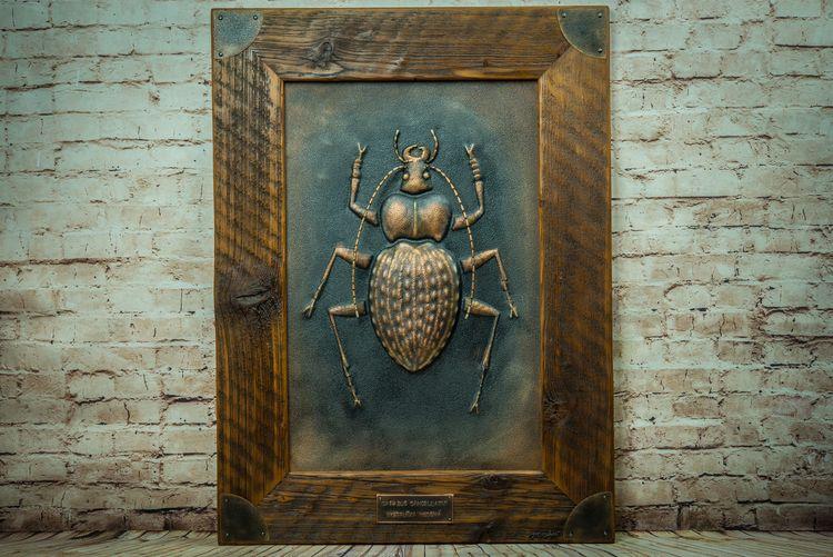 Kovový chrobák zapustený v drevenom obklade
