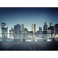AG Art Fototapeta XXL Nočná panoráma mrakodrapov 360 x 270 cm, 4 diely